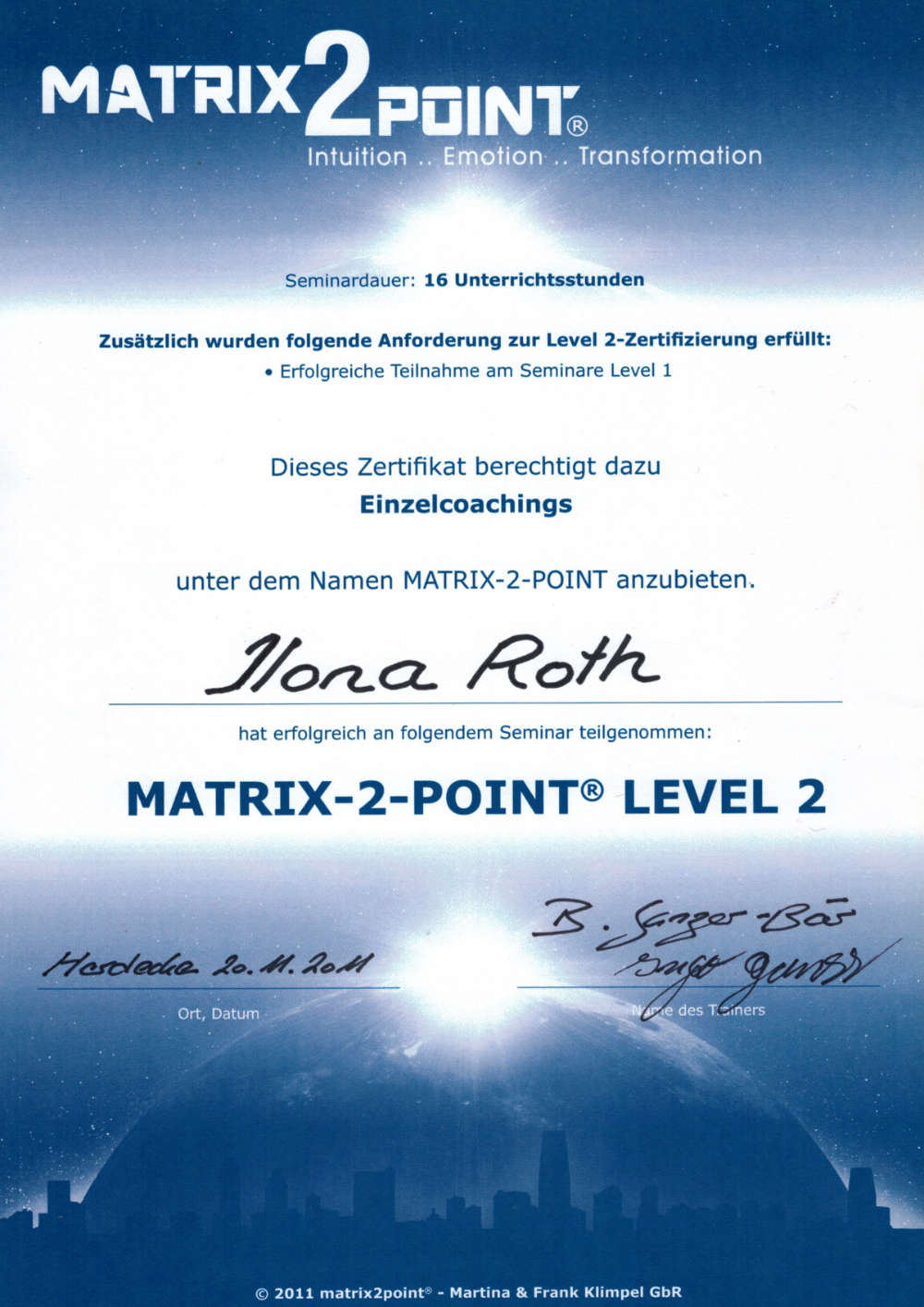 zertifikat matrix-coach level 2